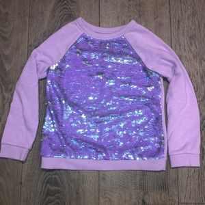 Cat and Jack reversible sequins purple sweater